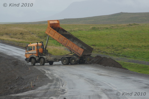 typical construction zone on Iceland roads.  Note the large crew.